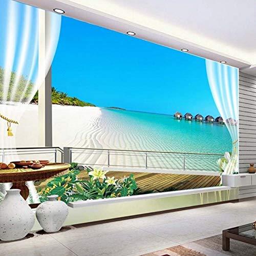VVNASD 3D Dekorationen Wandbilder Aufkleber Tapete Wand Malediven Fenster Balkon Strand Aussicht Meer Kulisse Kunst Mädchen Tv (W) 140X(H) 100Cm