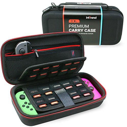 int!rend robuste Schutzhülle für die Nintendo Switch Konsole + Joy-Cons + 29 Spiele + Zubehör, passen als Nintendo Switch Tasche, Case, Cover, Hülle, in Schwarz