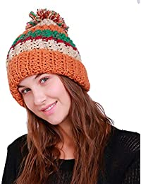 acfdb0bf29a Webla Women Warm Crochet Winter Wool Knit Ski Beanie Skull Caps Multicolour  Hat with Wool Ball