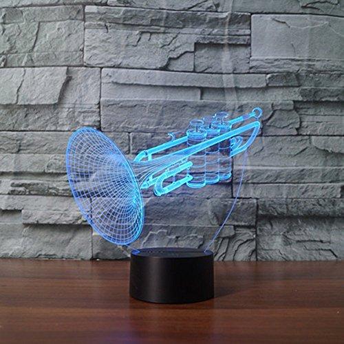 3D Tisch Nachttischlampen,KINGCOO 3D Optische Visualisierung LED Licht USB Schreibtischlampen Stimmungslichter Touch Schreibtisch 7 Farbwechsel Atmosphäre Lampe (Trompete)