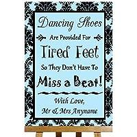 Scarpe da ballo Flip Flop piedi stanchi Cielo Blu damascato Collection–stampa di Matrimonio Segno Large A3 Blue