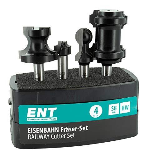 ENT 09050 4-tlg. Eisenbahn-Fräser-Set zum Fräsen von Holzschienen, HW, Schaft (S) 8 mm