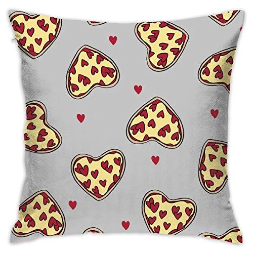 Pizza cuore san valentino amore pizza fette foodie tessuto grigio gettare pillow case cuscino cotone lino federa decorativa per la casa divano auto 18 x 18 pollici