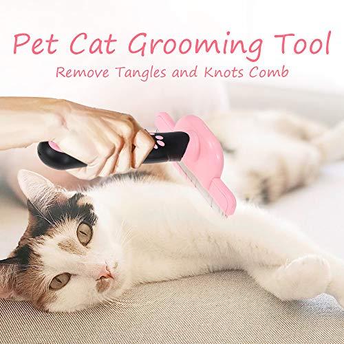 Kstyhome Pet Cat Grooming Tool Entfernen Sie Verwicklungen und Knoten Kamm Anti-Rutsch-Griff Shedding Bürsten für Katzen -