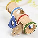 Jouet pour hamster Petit Animal arc-en-ciel balançoire Tunnel en bois Fournitures Playground à mâcher Wood Tube Mouse Nain souris Rat chinchillas d'escalade jouer Mâcher Jouets Forme cylindrique