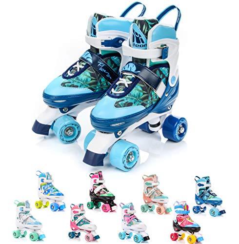 meteor® Retro Rollschuhe: Disco Roller Skate wie in den 80er Jahren, Jugend Rollschuhe, Kinder Quad Skate, 5 Verschiedene Farbvarianten, Einstellbare Größe des Schuhs (M 35-38, Flora)