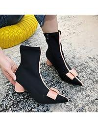 487234d8288d6 KPHY Zapatos de Mujer Botas Rojas De Los Niños Botas De Invierno Nuevo  Chelsea Zapatos Otoño Slim Treinta Y…