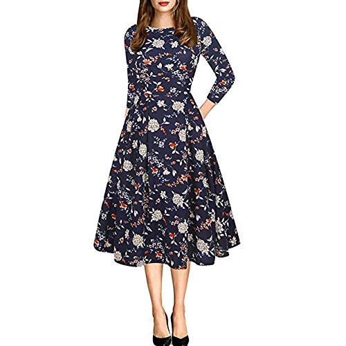 (JURTEE Frühling Damen Off Floral Rundhalsausschnitt Abendkleid Partykleid Langarm Fräulein Kleid)