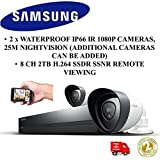NOUVEAU SAMSUNG SDH-P4021 2 X IP66 Appareils 1080P 8 CANAL 2 To H.264 DVR Home Security CCTV Kit jour / nuit 25M intérieur / extérieur