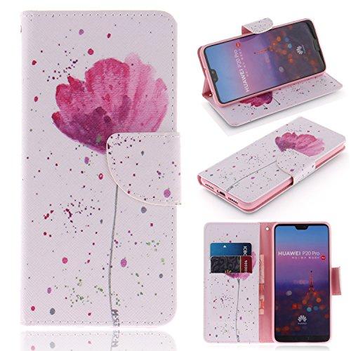 BONROY Housse TPU en Cuir Pochette Portefeuille de Protection,Emplacements pour Cartes avec Fonction Support et Fermoir Magnétique pour Huawei P20 Pro / P20 Plus-(TX-Purple Orchid)