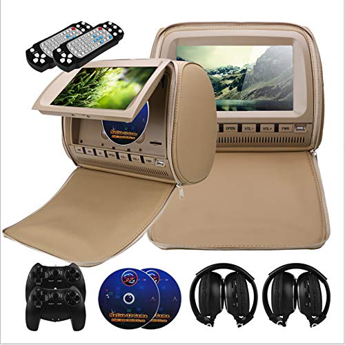 VrsaMwbbmml Car Headrest 9 Inch [2019] Digital High-Definition Large Screen DVD Display Audio Video TV Player Supports MP5 Format (Beige) Video Format, Audio