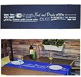 alles-meine.de GmbH 1 Stück _ Tischläufer -  Foods & Drinks  - dunkel blau - 45 cm x 150 cm lang - Tischdeko - 100 % Baumwolle - fleckabweisend / Leinen Struktur - Retro Modern..