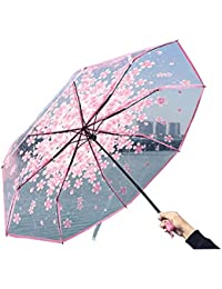 Wankd - Paraguas Plegable para Mujer, Transparente, diseño de Cerezo y Flores, Color