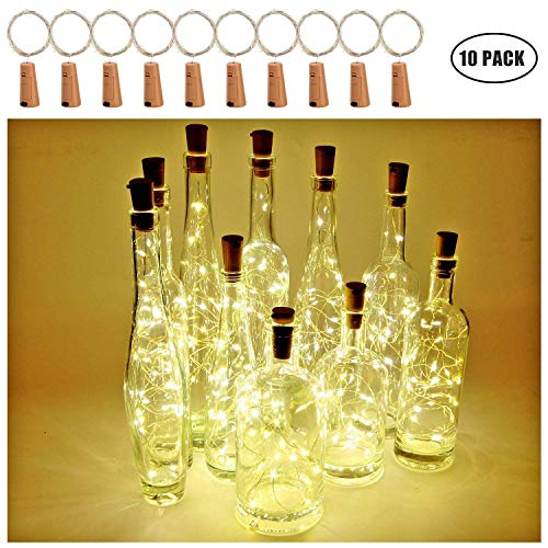 [Packung mit 10]Weinflasche Lichter, Kork LED Lichterketten mit Batteriebetriebenen Draht Lichterketten 2M 20LED für Flasche DIY Dekor, Outdoor BBQ, Versammlung, Party, Hochzeit, Urlaub (Warmweiß)