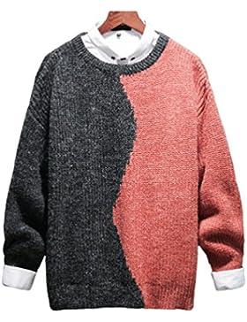 Yiiquan Hombre Ligero Casual Suéter para Otoño Cuello Redondo de Manga Larga Diseño de Costura