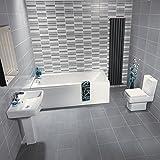 Hudson Reed Badezimmerausstattung Anthem - Stand-WC, Badewanne und Säulenwaschbecken im Set - Eckiges Design in Weiß