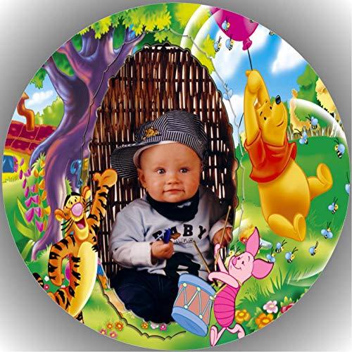 20 cm Fondant Tortenaufleger Tortenbild Geburtstag Winnie Pooh mit Wunschfoto T69