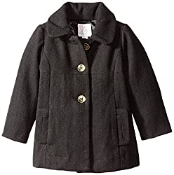 The Childrens Place Little Girls and Toddler Dressy Bow-Back Wool Coat, Black, 2T