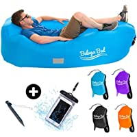 Inflatable Lounger, Premium Air Sofa With Durable Fabric, Integrated Pillow, Compact Carry Bag and Metal Stake, Waterproof Couch, Hammock Perfect For Hiking, Camping Or Days At The Beach, plus waterproof phone case