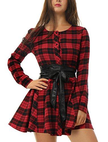 Allegra K Sourcingmap Women's Plaids Single Breasted Belted Mini A Line Shirt Dress