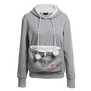 fuxinhe Frauen Känguru Pouch Hoodie Nette Langarm Pullover Haustier Katze Ohr Komfortable Weiche Sweatshirt Spaß Druckkostüm