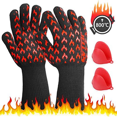 Grillhandschuhe 800˚C JELLAS Hitzebeständig Silikon Extra Langen Manschetten Kochhandschuhe, Ofenhandschuhe mit EN407-Zertifizierung für BBQ Grillen, Kochen, Backen, Mini Ofenhandschuh Kostenlos - Silikon-grillen-handschuhe