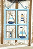 Fenster mit Boot Leuchtturm Möwe Schiff aus Holz (ca.30x29cm) Maritim Geldgeschenk