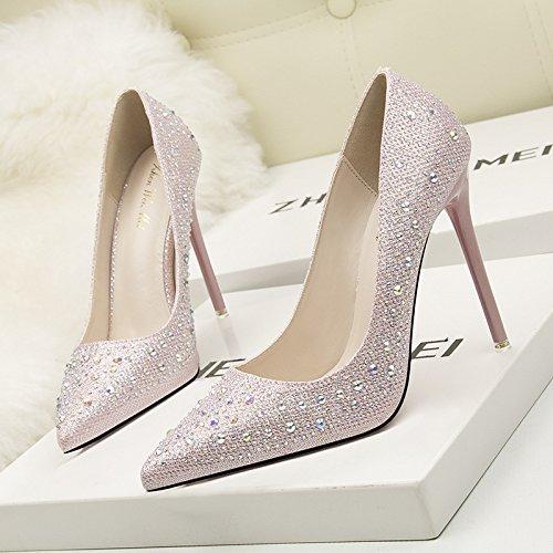 Alla luce delle scarpe singola versione coreana di mostrare l'elegante tacco alto fine con luce color video punta sottile punta di perforazione acqua scarpe singolo Pink