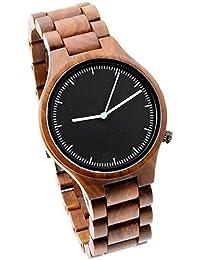 Estilo de moda cómoda bicolor Reloj de mano con madera de sándalo