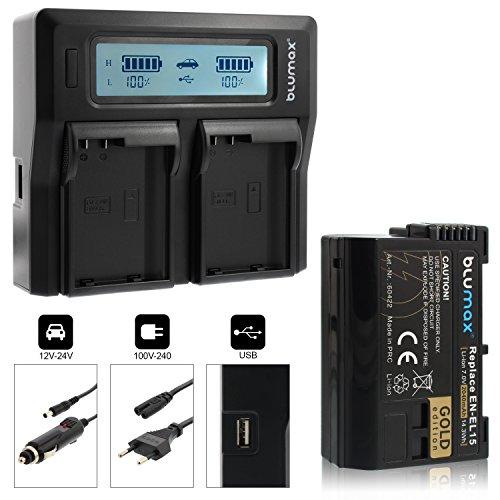 Blumax Gold Edition Akku EN-EL15 2040mAh + Doppelladegerät EN-EL15 Dual Charger | passend zu D7000 D7100 D7200 D500 D600 D610 D750 D800 D810 Nikon 1 V1 || 2 Akkus gleichzeitig Laden