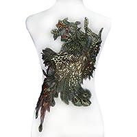 1pieza de cola de pavo real de lentejuelas de oro con cuentas parches parches de bordado floral oro metálico tejido de encaje decoradas DIY accesorios de costura