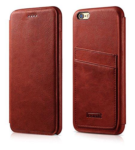 Luxus Tasche für Apple iPhone 6S und 6 (4.7 Zoll) / Case Außenseite aus echtem Leder / Hüllen-Innenseite aus Textil / Schutz-Hülle seitlich aufklappbar / ultra-slim / Cover mit Kartenfächern / Farbe:  Rot