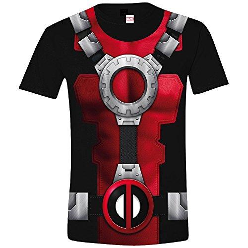 Marvel Herren T-Shirt Costume Deadpool, Mehrfarbig (Sublimation), XL (X Force Wolverine Kostüm)