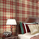 liuhoueMaison de papier peint intissé, Plaid écossais Wallpaper salon chambre à coucher vintage-B