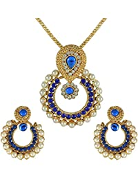 BFM Blue Metal Alloy Partywear Jewellery Set For Women | Beautiful Earings Set And Necklace Set With Moti Work