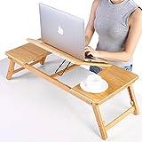 Bambus Laptoptisch Betttisch faltbar Lepdesks höhenverstellbar Betttablett mit Schublade