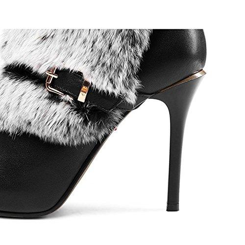 donne sottili tacchi alti stivali corti con fibbia in peluche con cerniera a caldo scarpe, BLACK-35 BLACK-39
