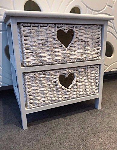 Home Delights Weiß Holz Storage mit 2Wicker Schubladen Körbe Herz Shabby Chic Nachttisch