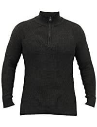 Pull Homme Crosshatch Pull Tricot Pull-over Gaufré Fermeture Éclair Hiver Décontracté Neuf