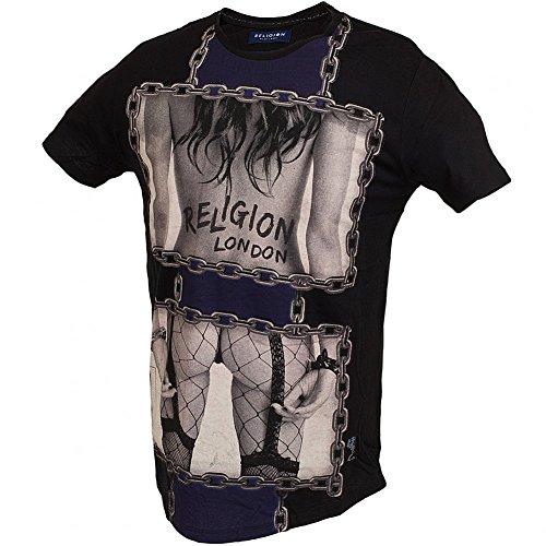 Religion T-Shirt Männer Chain schwarz - figurbetonter Schnitt Jet Black