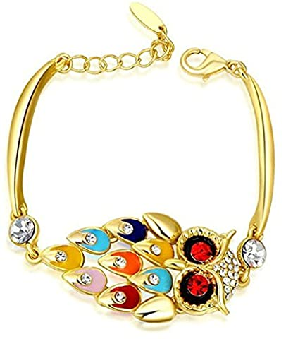 anazoz Fashion Jewelry femmes bracelet plaqué argent avec bracelets pour femme couleur jaune Forme Hibou Cristal CZ 19x 19x 2,3