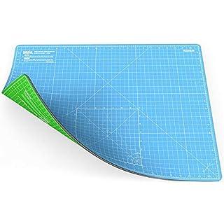ANSIO Schneidematte Selbstheilende A2 Doppelseitige 5 Schichten sassend für Kunst, Nähen - Imperial/Metric 22.5 x 17 Zoll / 59 x 44 cm - Himmelblau/Lime Grün