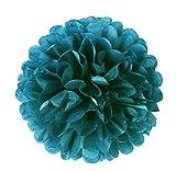 6er Set farbige Pompoms Petrol 20cm Seidenpapier Blumen Blau-Grün