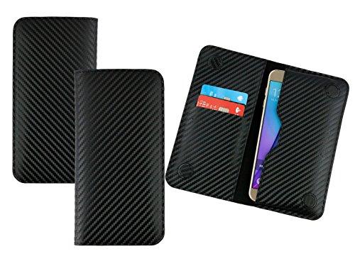 Emartbuy® Nero Carbonio Fibre Finish Qualità PU Pelle Portafoglio Sottile Magnetico Custodia Case Cover Sleeve (Size LM4) Adatta per Smartphone Elencati Sotto