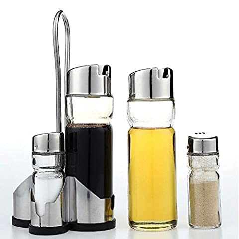 5 Piece Cruet Condiment Set Glass Salt Pepper Oil &