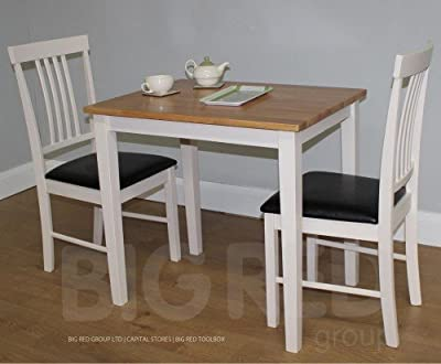 Small White and Solid Oak Dining Table + 2 Chairs - Wooden Dining Set