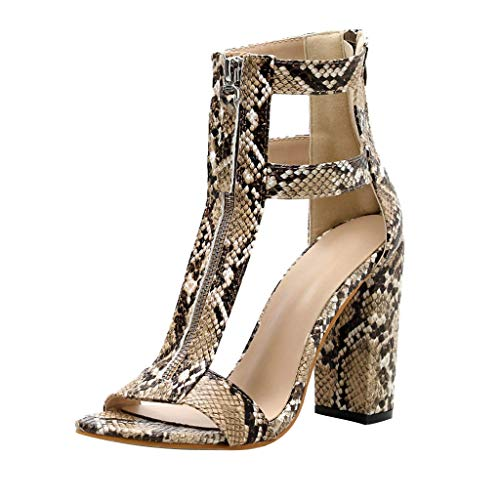 b392fd3bd99c Xmiral High Heeled Sandals Zipper Serpentine Thick Heel Women Square Heel  Shoes Shallow Ankle Non-