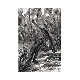 gthytjhv Vintage Old Fashion Sketch of A Crocodile in Forest Wildlife Nature Woods Fossil Picture Charcoal Grey House Garden Family Event Decoration