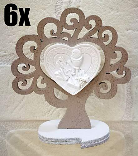 6 pezzi albero della vita legno con calice bomboniera comunione