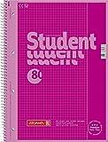 Brunnen 1067926126 Notizblock / Collegeblock Student Colour Code (A4 kariert, Lineatur 26, 90 g/m², 80 Blatt pink